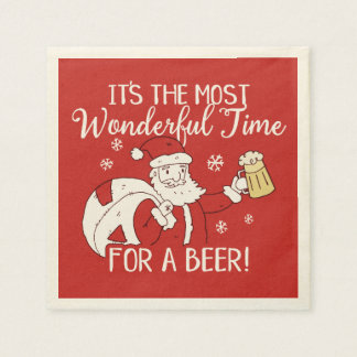 Christmas Most Wonderful Time for a Beer Santa Disposable Serviette