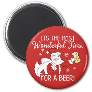 Christmas Most Wonderful Time for a Beer Santa Magnet