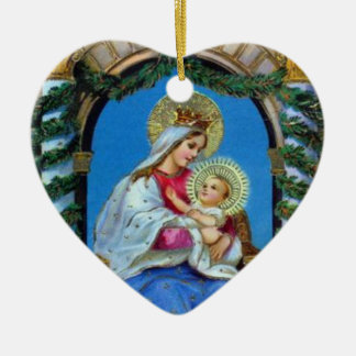 Christmas - Mother Mary and Jesus Ceramic Ornament