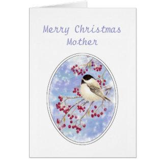 Christmas Mother  Winter Bird Berry Frosty Window Greeting Card