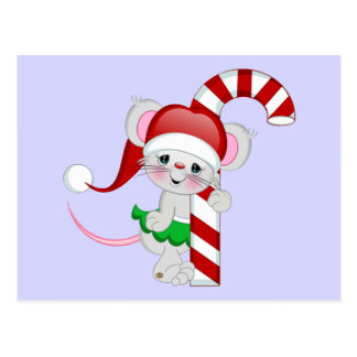Christmas Mouse Candy Cane Postcard