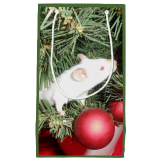Christmas Mouse Gift Bag: Angelic Mouse in Tree Small Gift Bag
