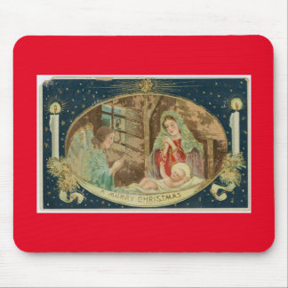 CHRISTMAS MOUSE PAD WITH VINTAGE NATIVITY SCENE