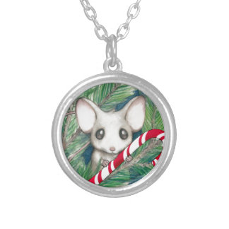 Christmas Mouse Silver Plated Necklace