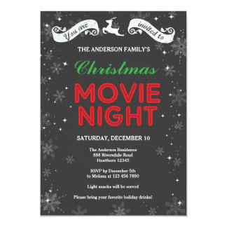 Christmas Movie Night Invitation, Christmas Movie 13 Cm X 18 Cm Invitation Card