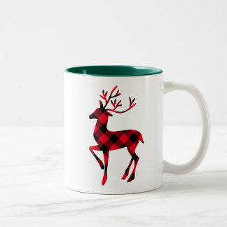 Christmas Mug | Buffalo Plaid Reindeer