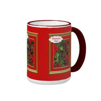 Christmas mug, Ribbons and pine cones