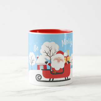 CHRISTMAS MUG.  SANTA CLAUS ON A RED SLED. Two-Tone COFFEE MUG