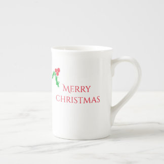 Christmas mug with holly berries