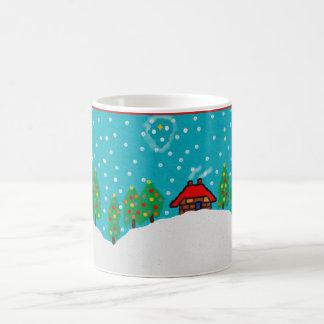 christmas mug with snowy christmas tree landscape