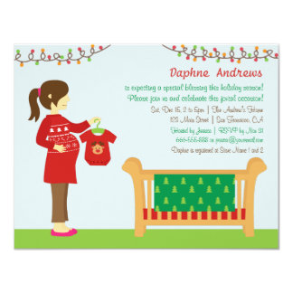 Christmas Mum Baby Shower Party Invitations