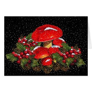Christmas Mushroom, Toadstools, Snow, Holly Card