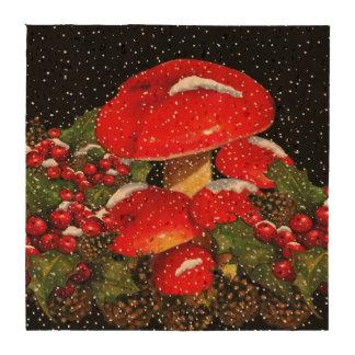 Christmas Mushrooms Pine Cones Snow Art Beverage Coaster