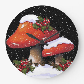 Christmas Mushrooms with Holly, Snow: Artwork Large Clock