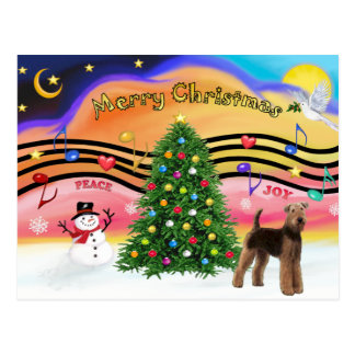 Christmas Music 2 - Airedale (stand) Postcard