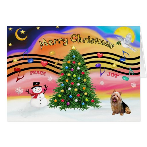 Christmas Music 2 - Australian Terrier Greeting Cards