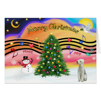 Christmas Music 2 - Bedlington Terrier Card