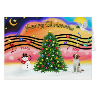 Christmas Music 2 - Brittany Spaniel Card