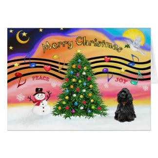 Christmas Music 2 - Cocker Spaniel (black) Card