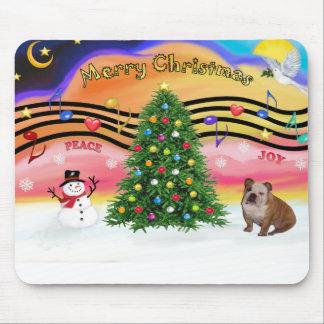 Christmas Music 2 - English Bulldog (brown-white) Mouse Pads