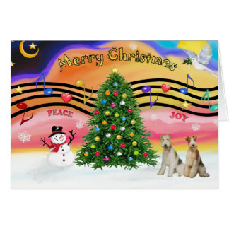 Christmas Music 2 - Fox Terriers (two Wire Haired) Card