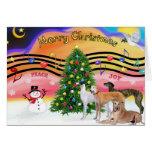 Christmas Music 2 - Greyhounds (four) Greeting Cards