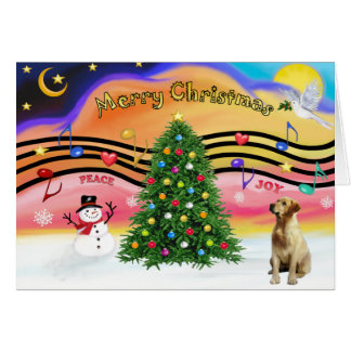 Christmas Music 2 - Labrador (Yellow) Card