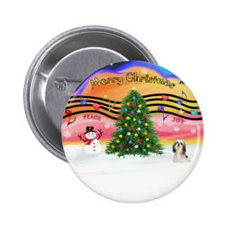 Christmas Music 2 - Shih Tzu #3 6 Cm Round Badge