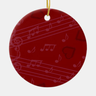 Christmas music notes ceramic ornament