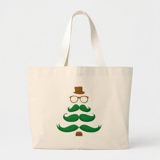 Christmas Mustache Tree Canvas Bags