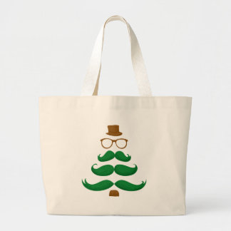 Christmas Mustache Tree Large Tote Bag