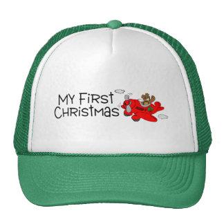 Christmas My First Christmas (Bear and Plane) Mesh Hats