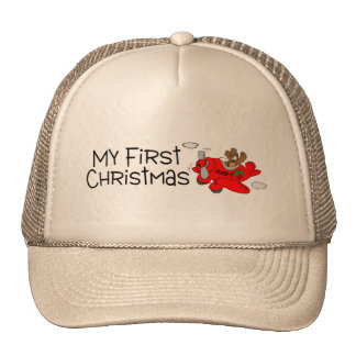 Christmas My First Christmas Bear and Plane Trucker Hats