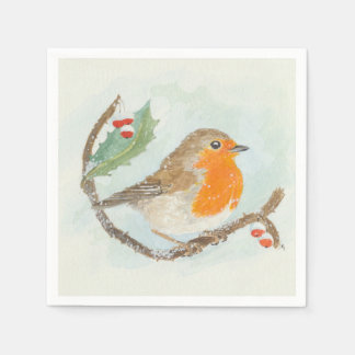 Christmas Napkins - European Robin Disposable Napkins