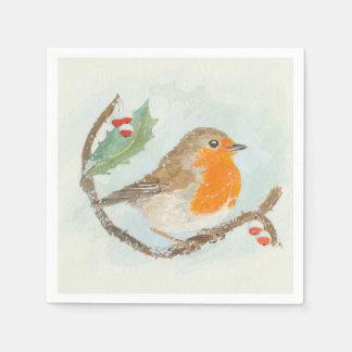 Christmas Napkins - European Robin Disposable Serviette