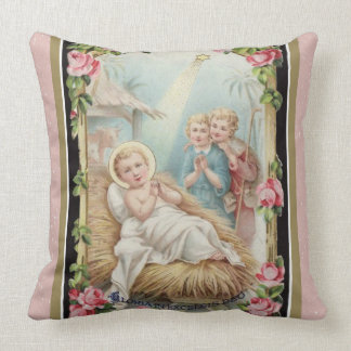 Christmas Nativity Baby Jesus Roses Cushion