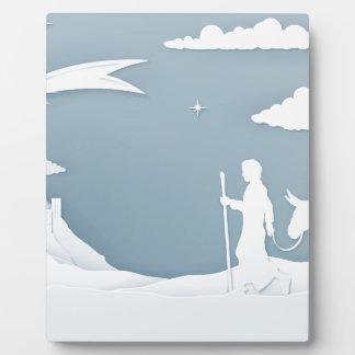 Christmas Nativity Mary Joseph and Bethlehem Plaque
