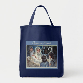 Christmas Nativity Scene Painting Grocery Tote Bag