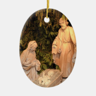 Christmas Nativity scene with the Holy Family Ceramic Oval Decoration