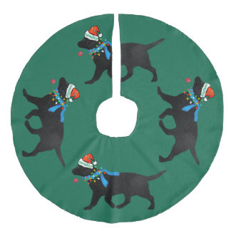 Christmas Naughty Black Lab Faux Linen Tree Skirt