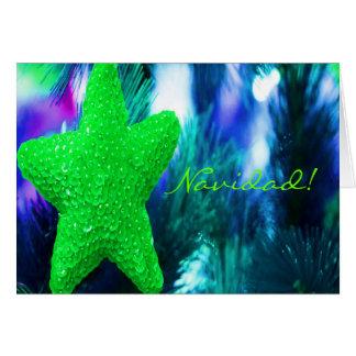 Christmas Navidad Green Star II Greeting Card
