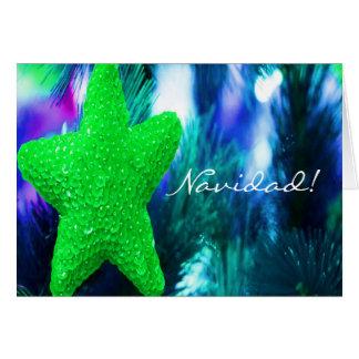 Christmas Navidad Green Star III Greeting Card