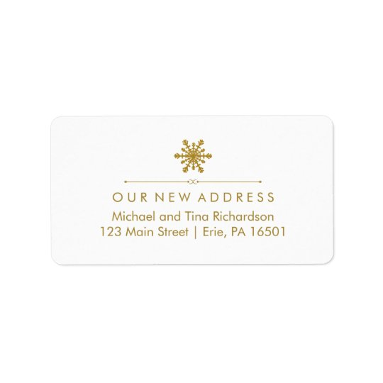 Christmas New Address Glam Gold Snowflake Label