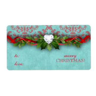 Christmas New Year Damask Heart LOVE Shipping Label