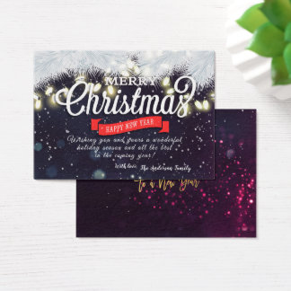 Christmas New Year Holiday Wish Pine String Lights Business Card