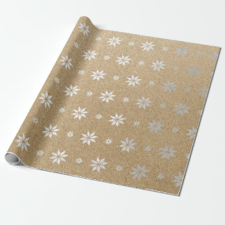 Christmas New Year Silver Stars Snow Wrapping Paper