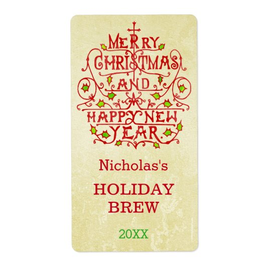 Christmas New Year Vintage Typography Personalised Shipping Label