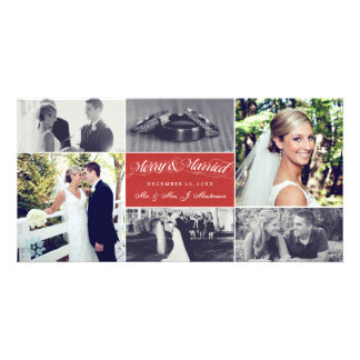 Christmas Newly Weds Merry & Married Photo Collage Photo Cards