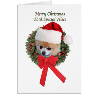 Christmas, Niece, Pomeranian Dog Card
