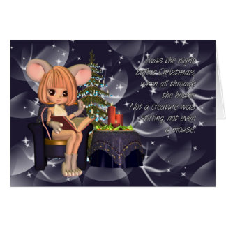Christmas night before Christmas mouse Greeting Card